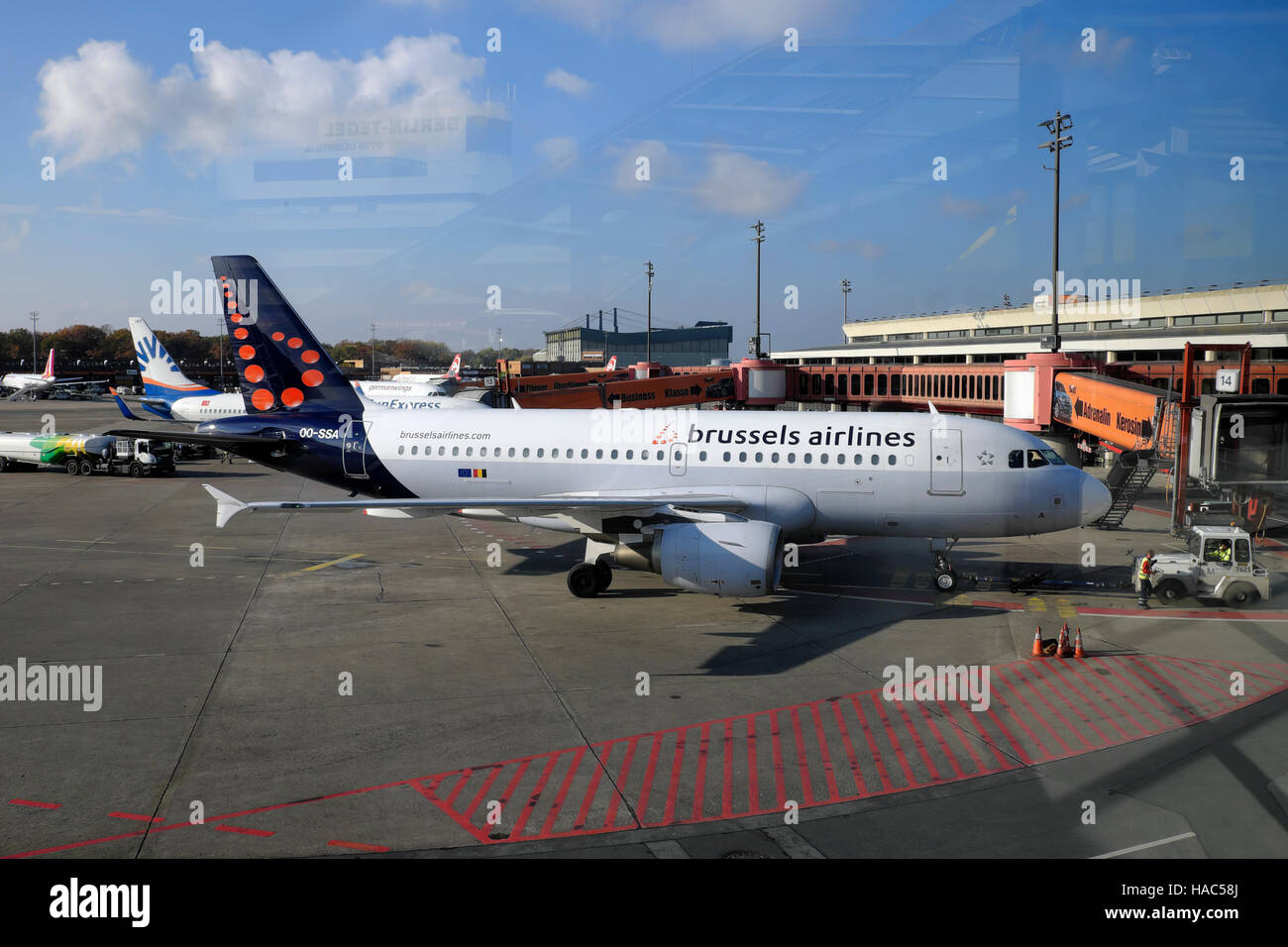 Brussels airlines plane on the tarmac at Tegel Airport in Berlin, Germany, Europe EU  KATHY DEWITT - Stock Image