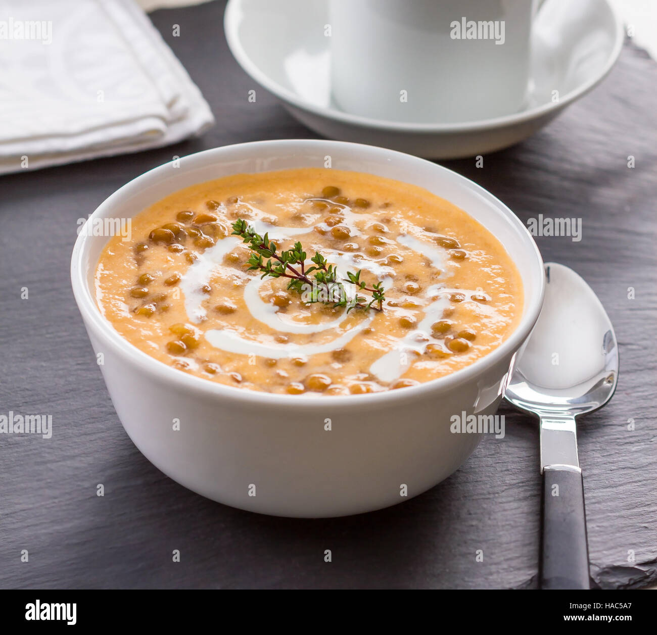 Homemade lentil and rice soup in a bowl Stock Photo