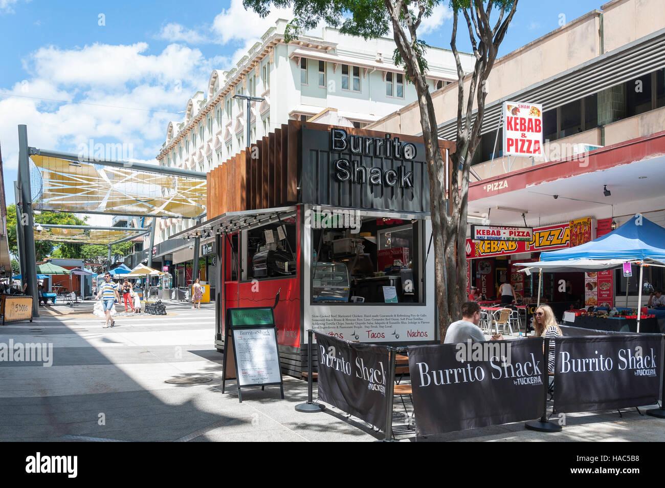 Burrito Shack restaurant, Brunswick Street Mall, Fortitude Valley, Brisbane, Queensland, Australia - Stock Image