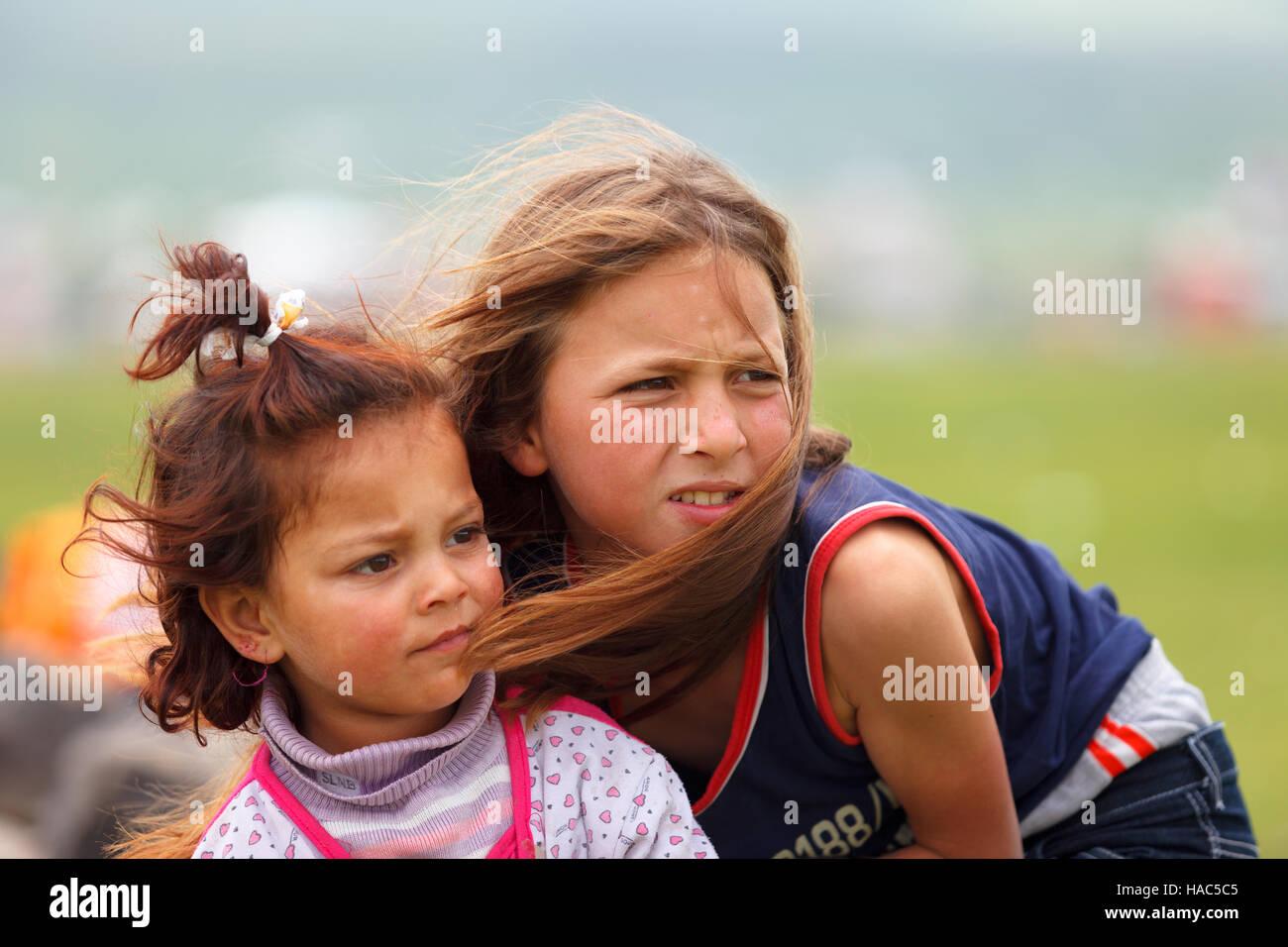 Children of nomadic people in rural areas of Eastern Anatolia.They work as seasonal worker - Stock Image