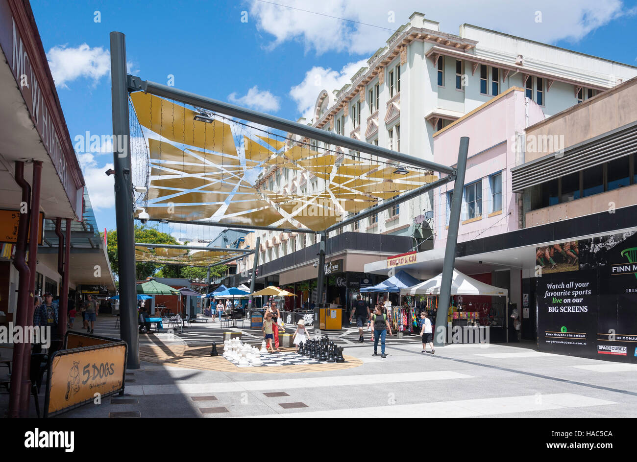 Brunswick Street Mall, Fortitude Valley, Brisbane, Queensland, Australia Stock Photo