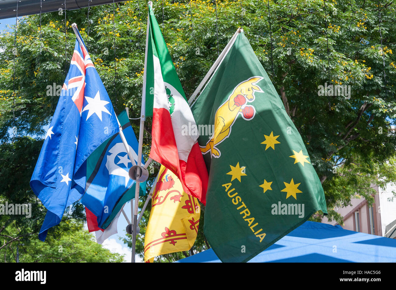 Australian and international flags on stall, Brunswick Street Mall, Fortitude Valley, Brisbane, Queensland, Australia - Stock Image