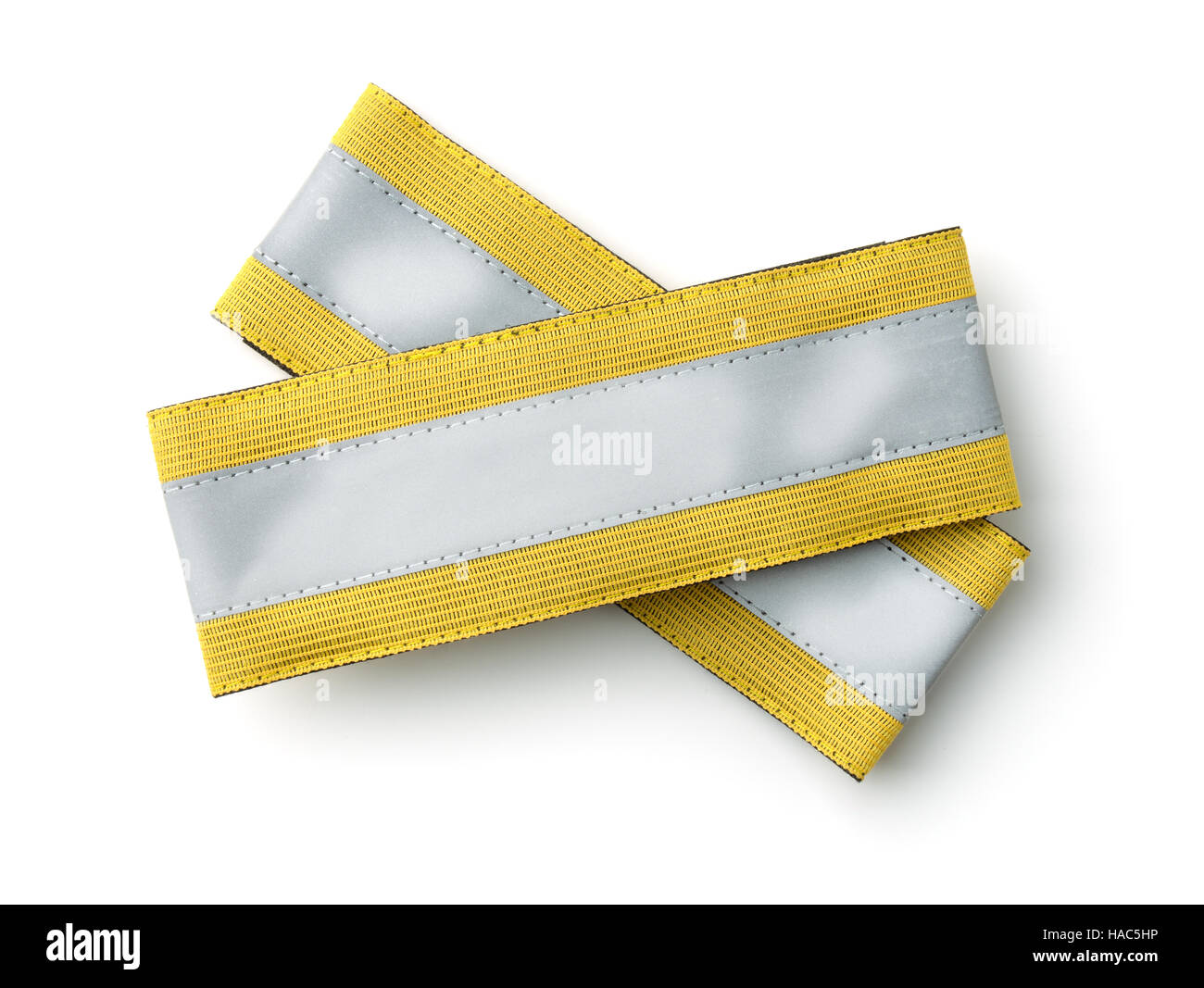 Top view of reflective wristband isolated on white - Stock Image
