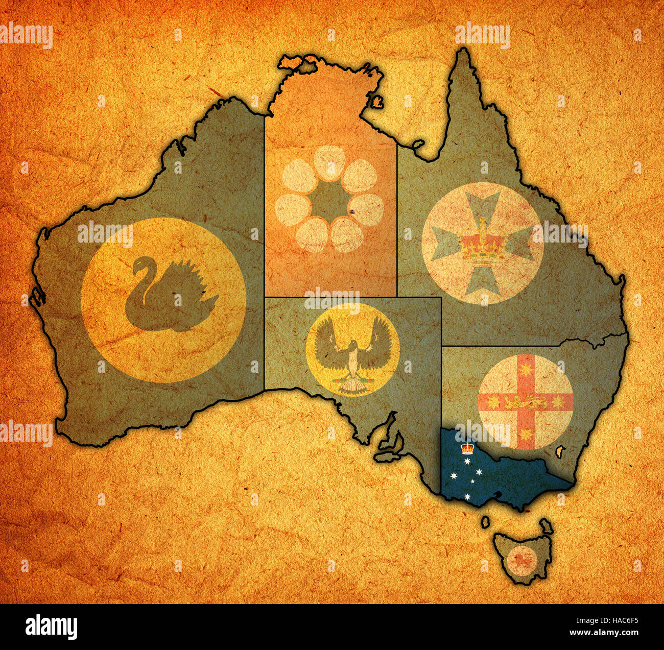 victoria flag on map of australia with administrative divisions