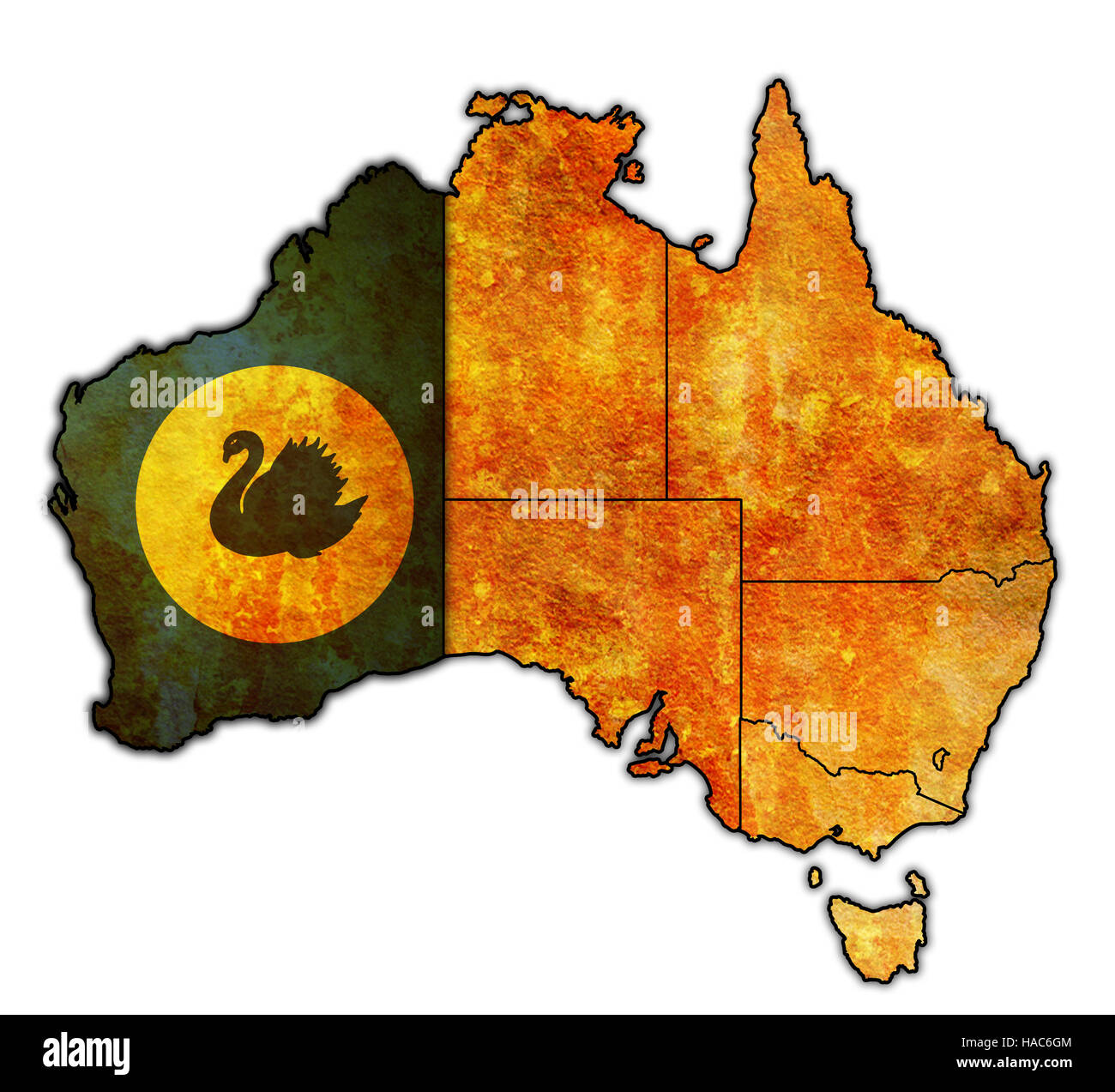 western australia flag on map of australia with administrative Stock