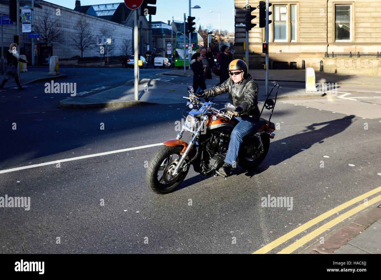Harley Davidson Motorcycle Rider ,UK. - Stock Image