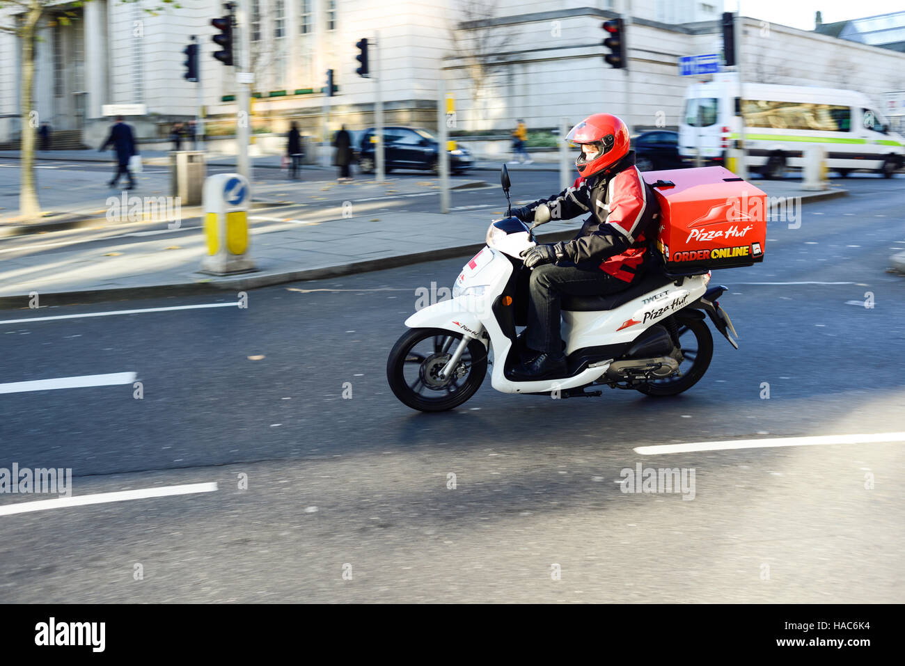 Pizza Hut Motorcycle Delivery Courier In Nottinghamuk Stock
