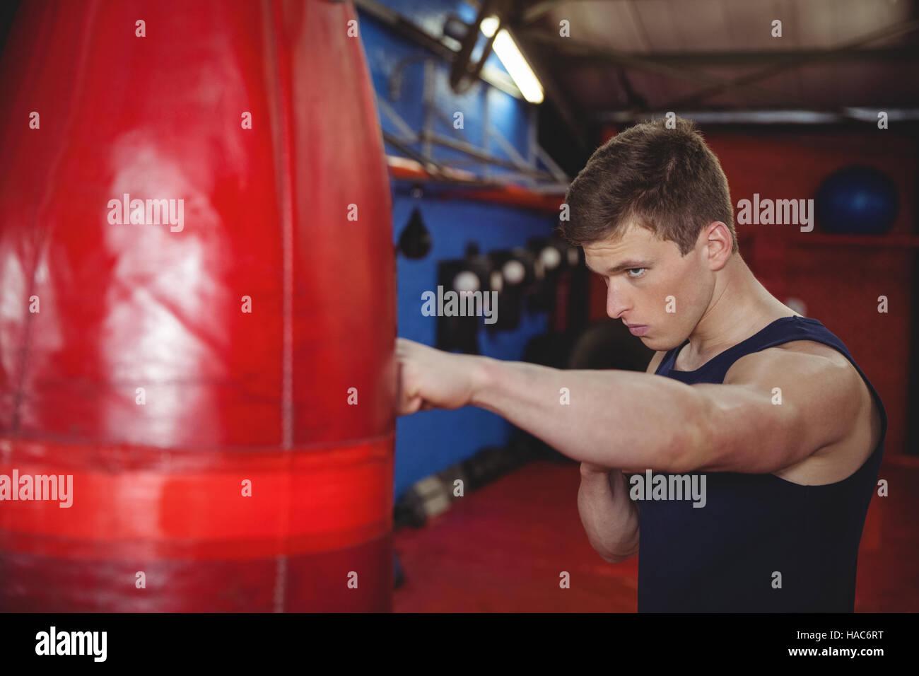 Boxer practicing boxing on punching bag - Stock Image