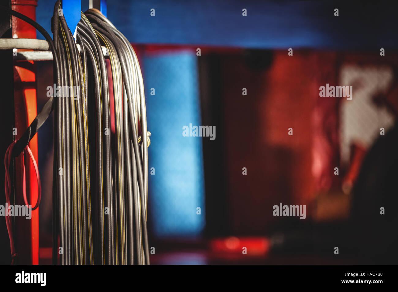 Skipping ropes in fitness studio - Stock Image