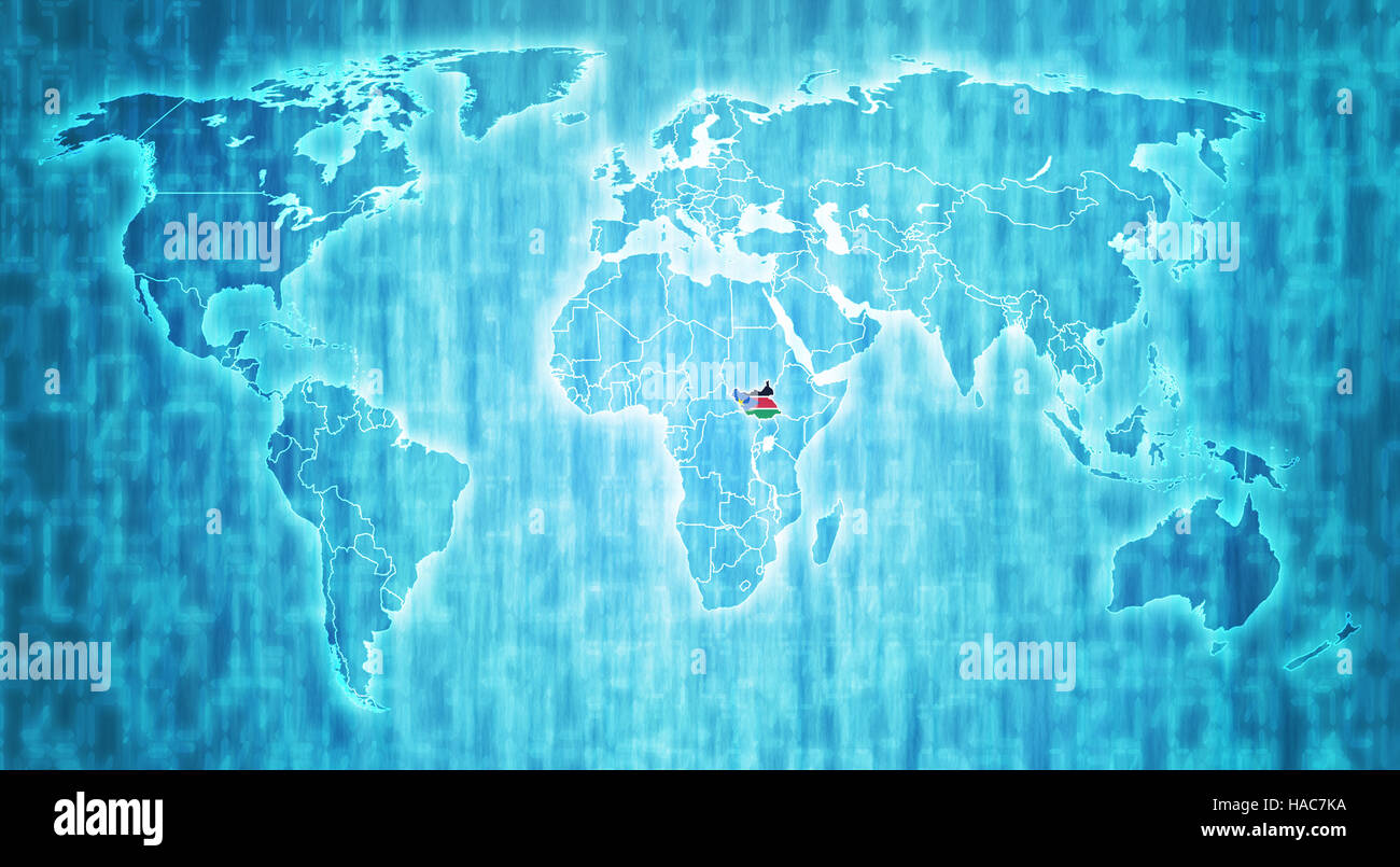 south sudan flag on blue digital world map with actual national ...