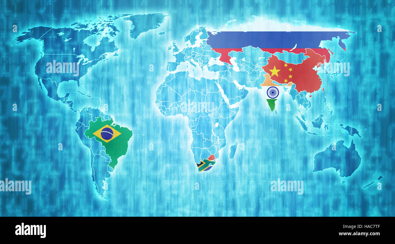 Brics countries flags on blue digital world map with actual national brics countries flags on blue digital world map with actual national borders gumiabroncs Choice Image