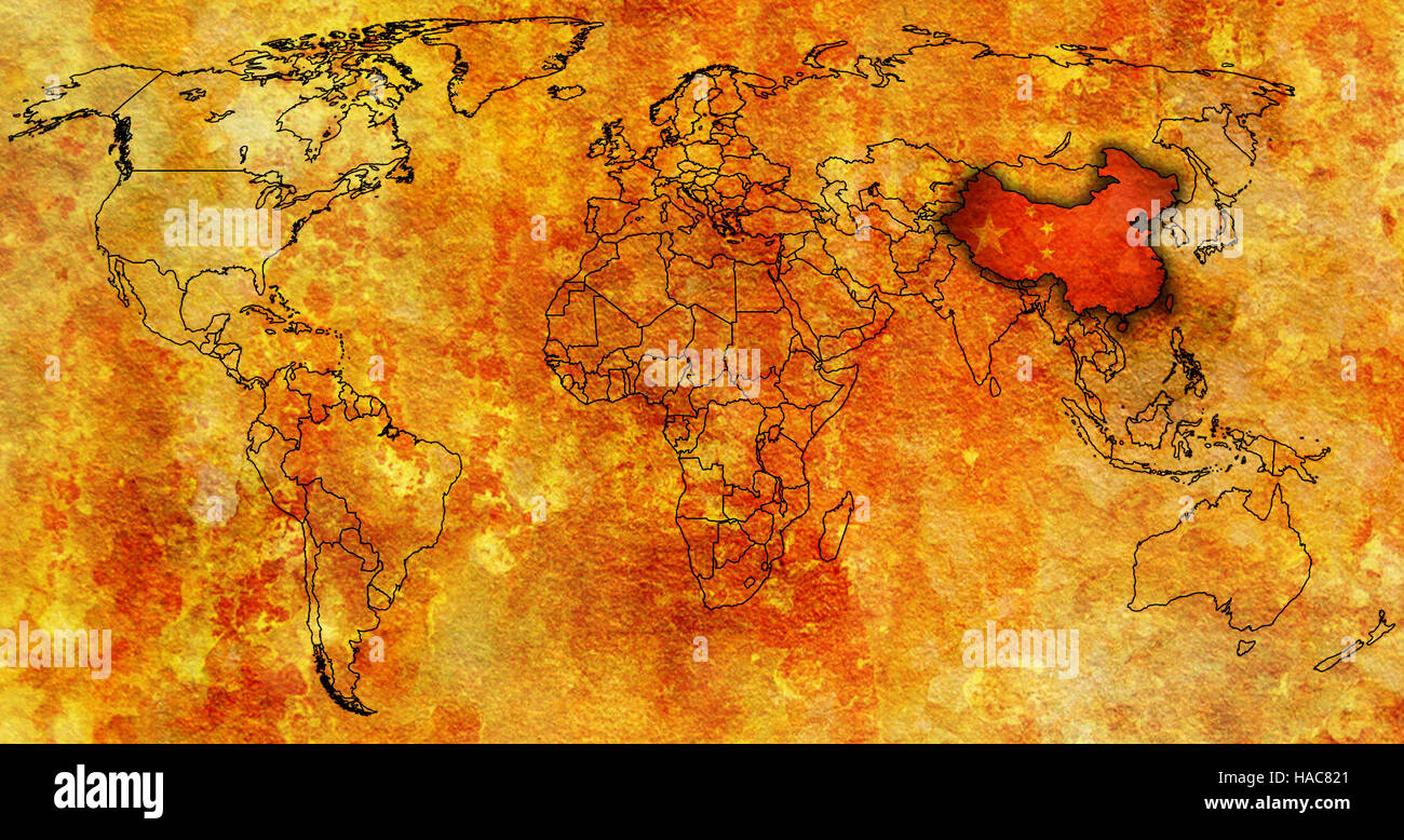 China flag on old vintage world map with national borders stock china flag on old vintage world map with national borders gumiabroncs Image collections