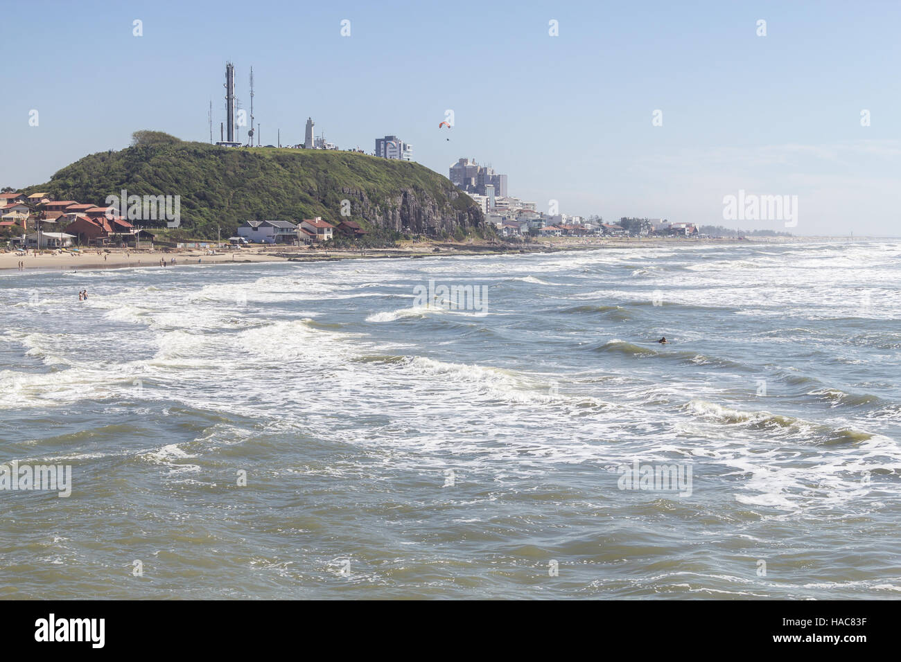 Cal and Grande beachs in a sunny and windy day - Stock Image