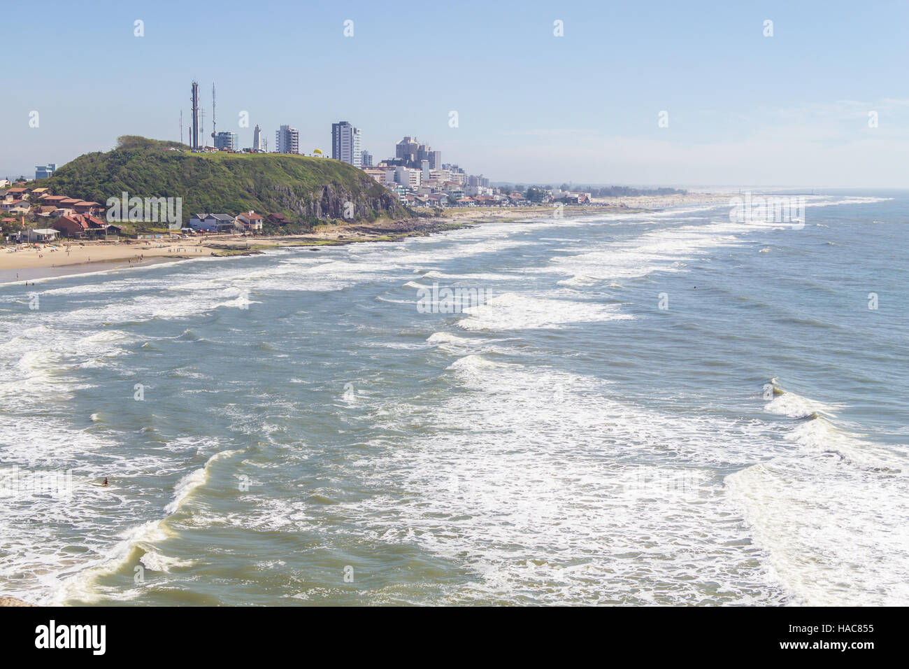Cal and Grande beachs in a sunny and windy day Stock Photo