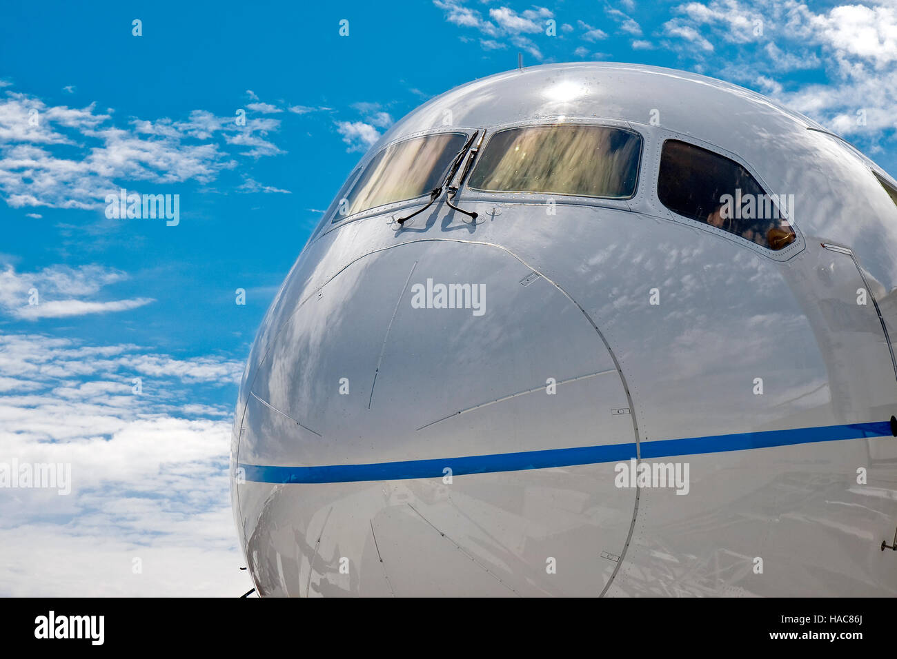 Close up of a Boeing 787 Dreamliner nose - Stock Image