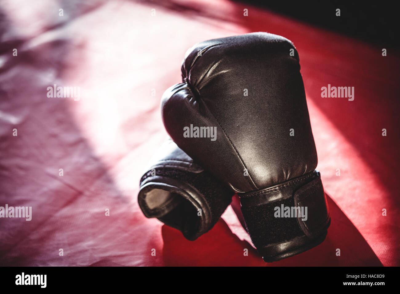 Pair of black boxing gloves - Stock Image