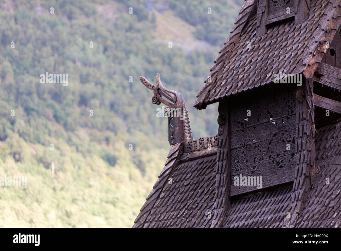 On the gables end of the roof, Borgund Stave Church,  Borgund, Lærdal, Sogn og Fjordane, Norway. - Stock Image