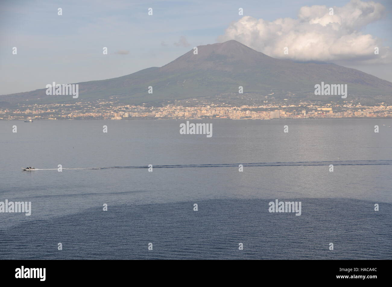 Mount Vesuvius and the Gulf of Naples - Stock Image