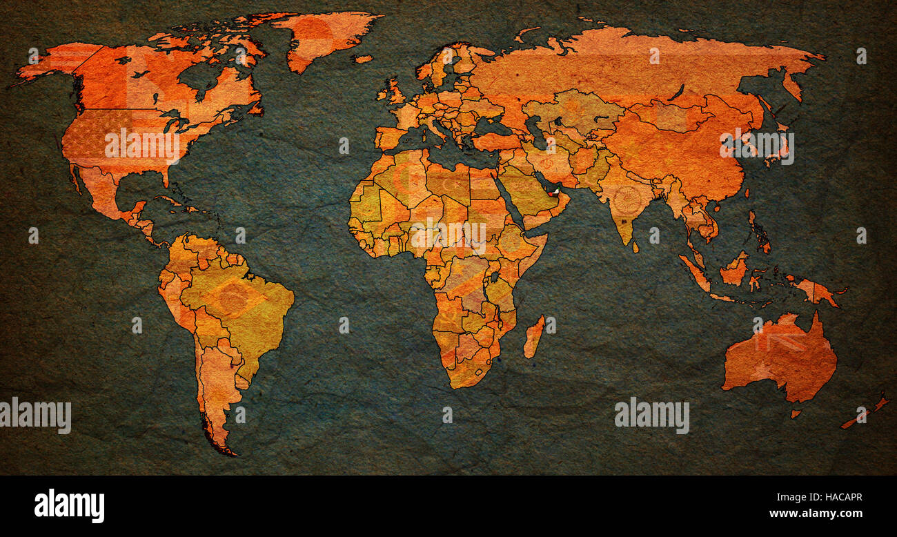 Uae flag on old vintage world map with national borders stock photo uae flag on old vintage world map with national borders gumiabroncs Choice Image