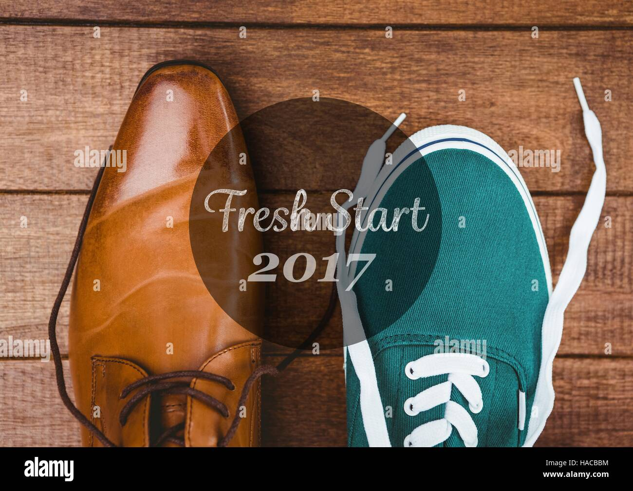 2017 new year wishes with formal and casual shoes stock image