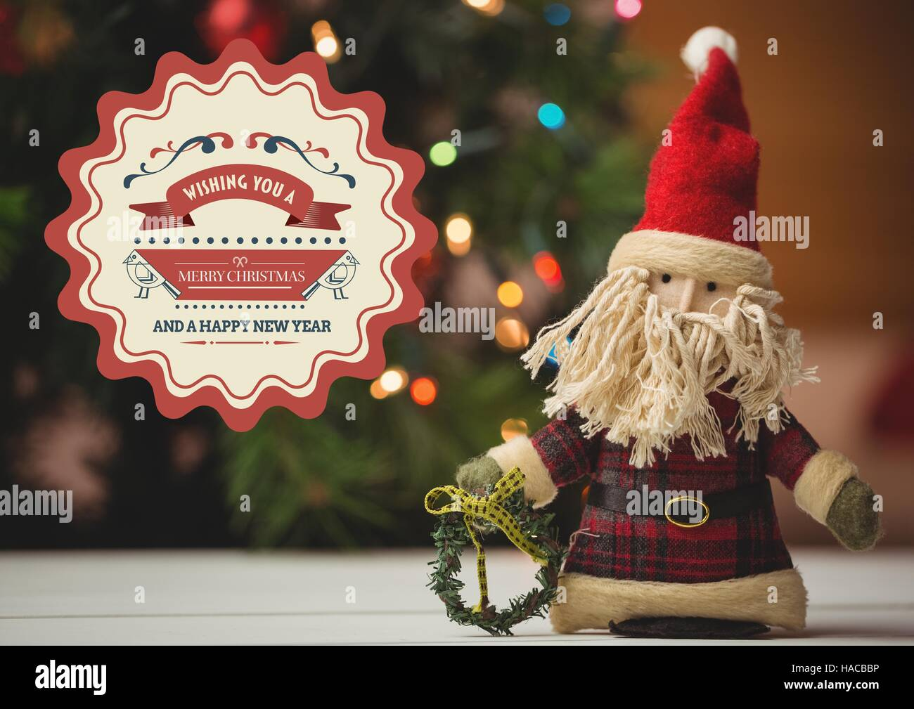 New Year Greeting Quotes With Santa Doll Stock Photo 126891514 Alamy