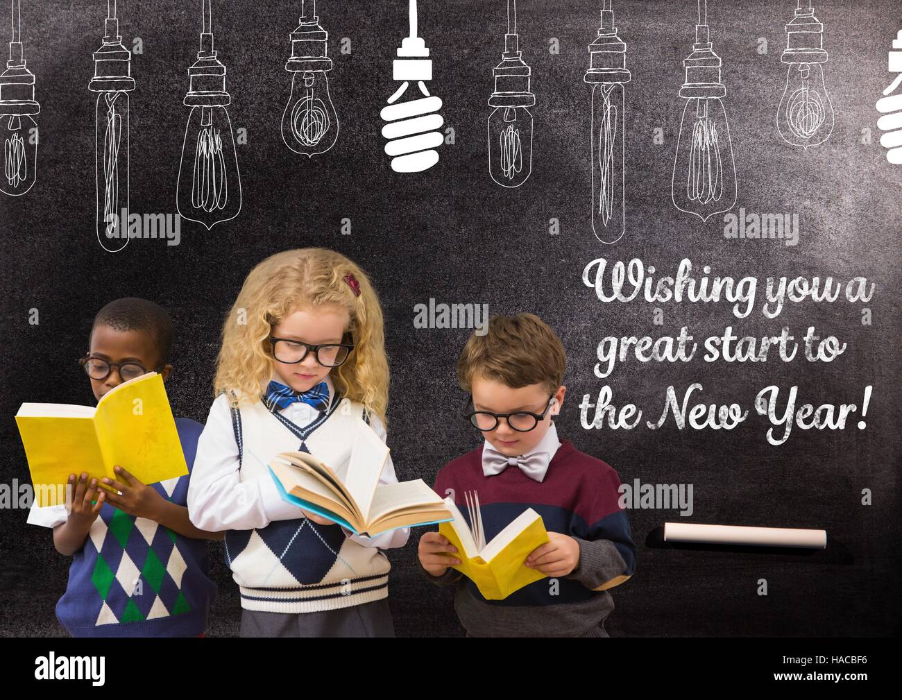 Children Reading Books Against Blackboard With 2017 New Year
