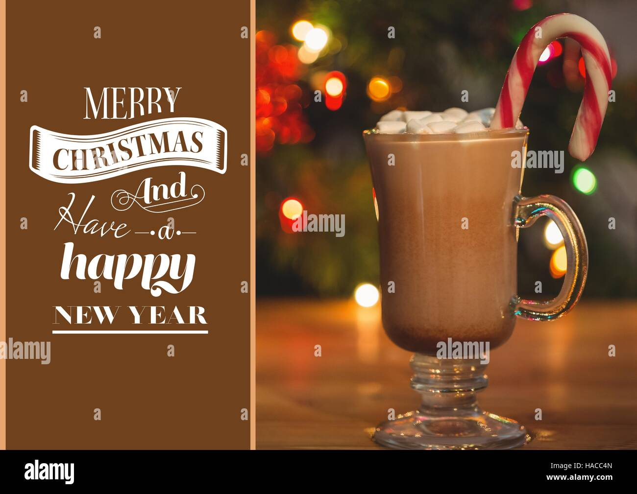 Composite image of merry christmas wishes and a cup of hot chocolate composite image of merry christmas wishes and a cup of hot chocolate with marshmallows and candy can m4hsunfo