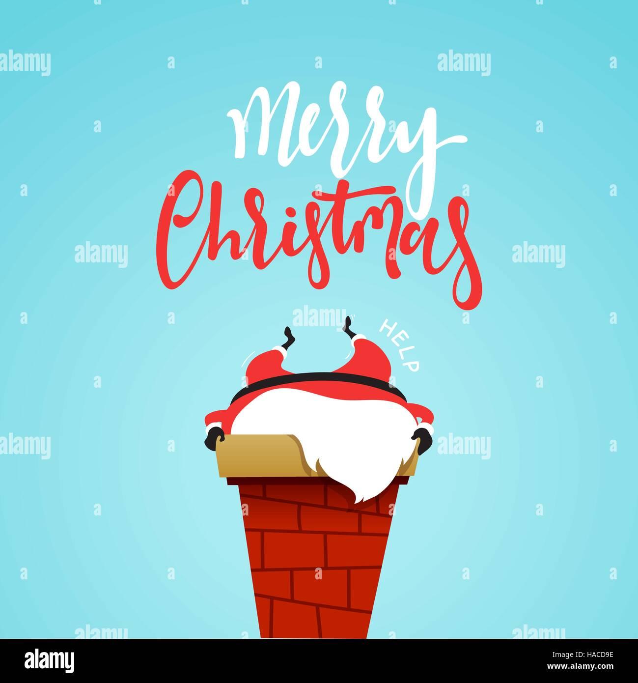 Santa Claus cartoon christmas character, stuck in the