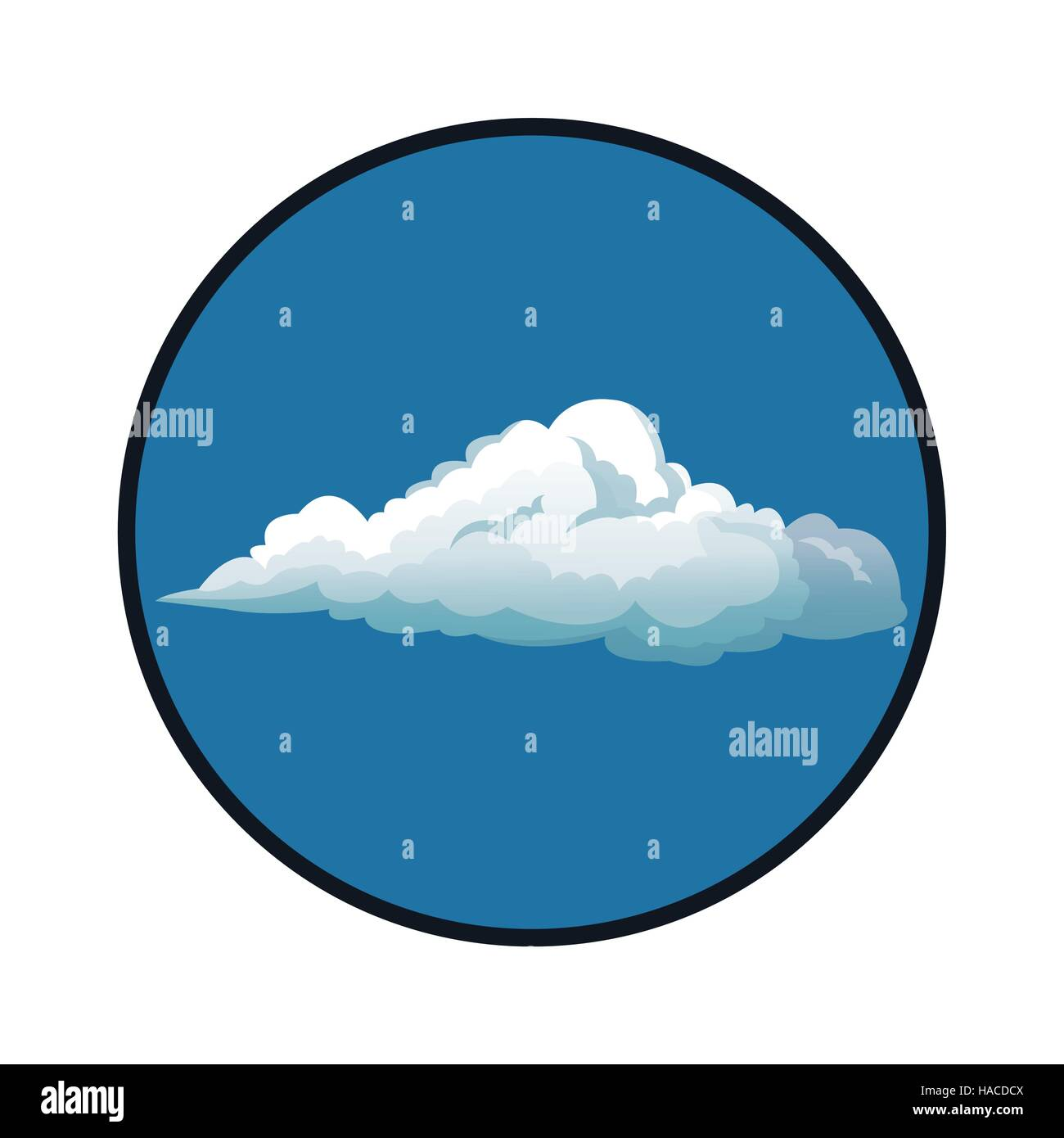 blue sky clouds with circle white background - Stock Image