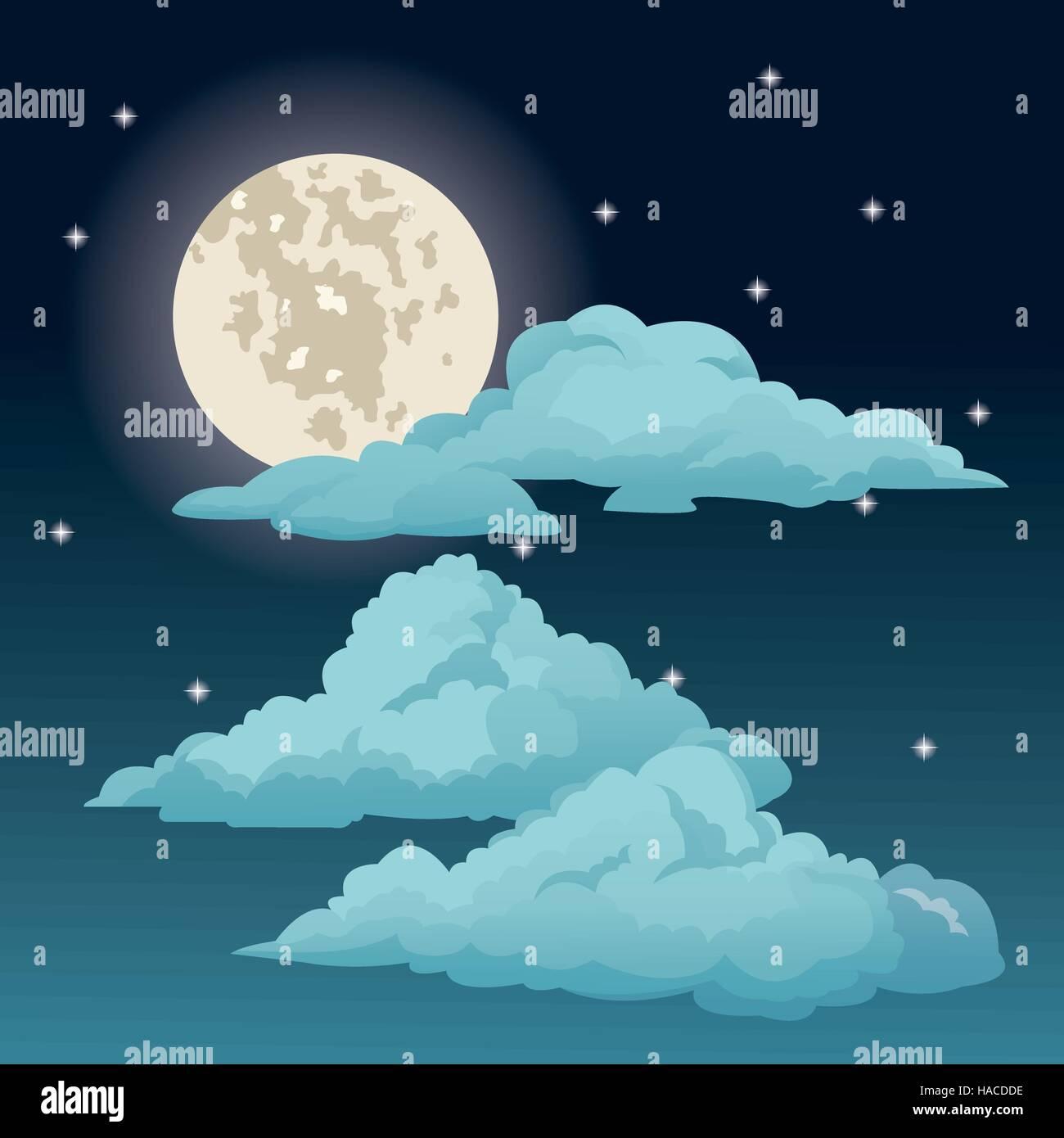 Beautiful Night Sky Stars Clouds Moon