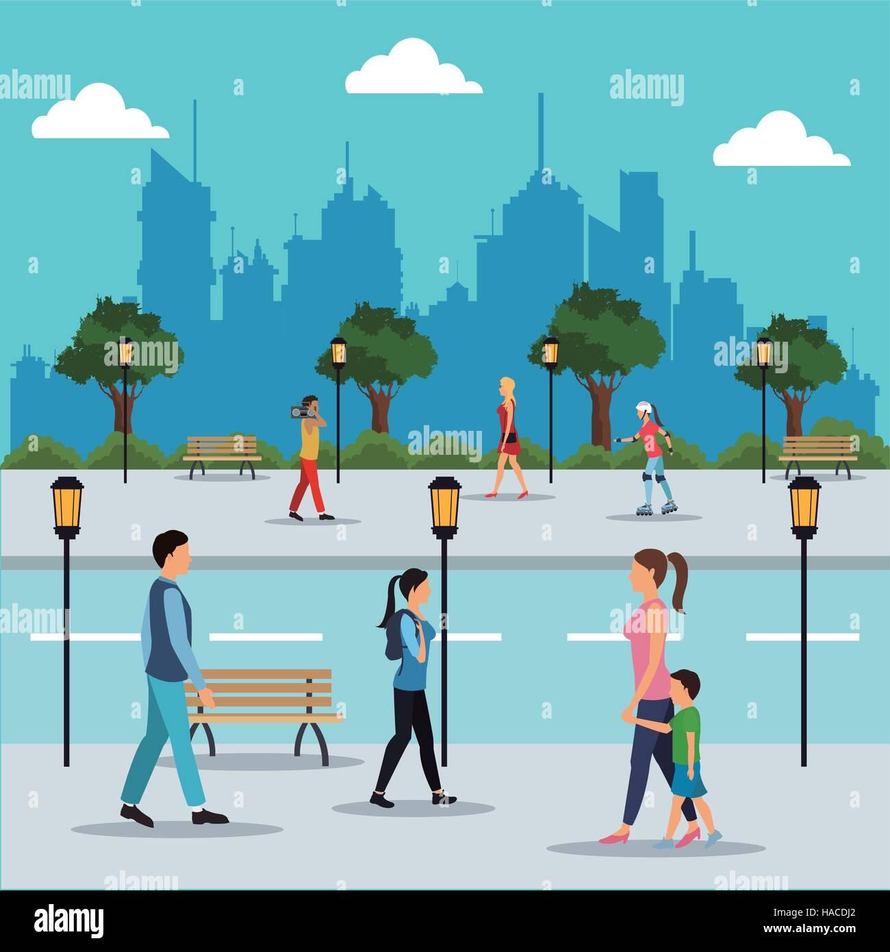 people walking in street city - Stock Vector