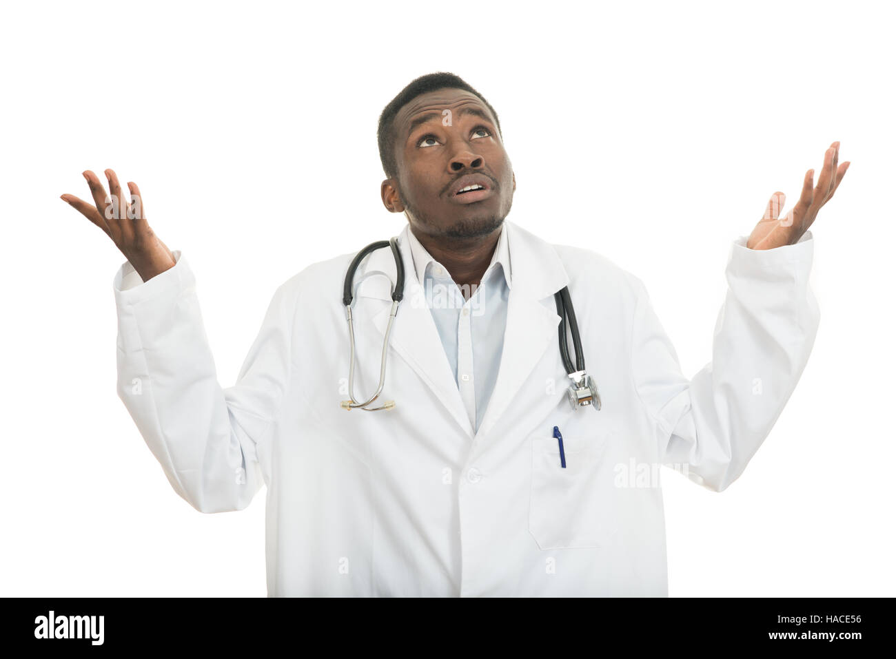 Closeup portrait of clueless black doctor health care professional, with stethoscope. - Stock Image