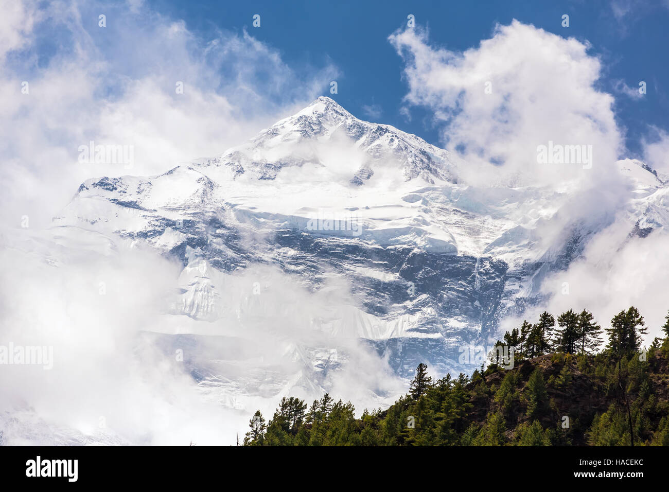 Beautiful Snowy Mountain Landscape Annapurna Range In Himalayas Nepal