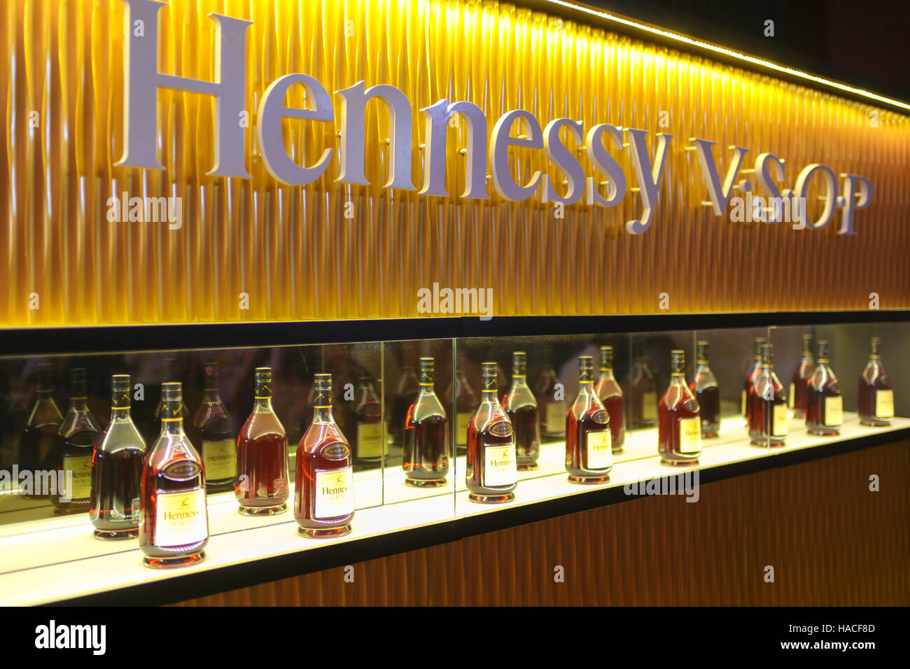 Hennessy Liquor On Display Inside A Elegant Display Cabinet At Hennessy  Dinner Gala.