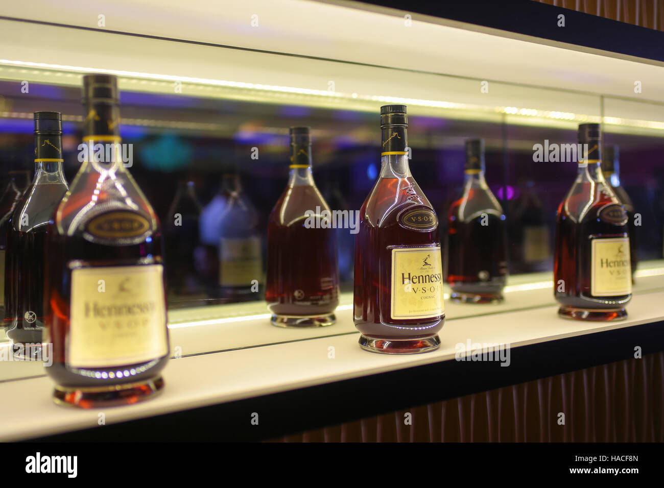 Hennessy Liquor Inside A Elegant Display Cabinet.