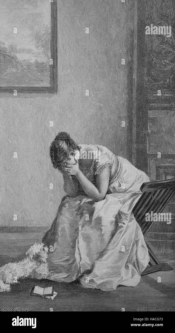 deep sorrow, great suffering, woman and her little dog at home, 1880, historic illustration, woodcut - Stock Image