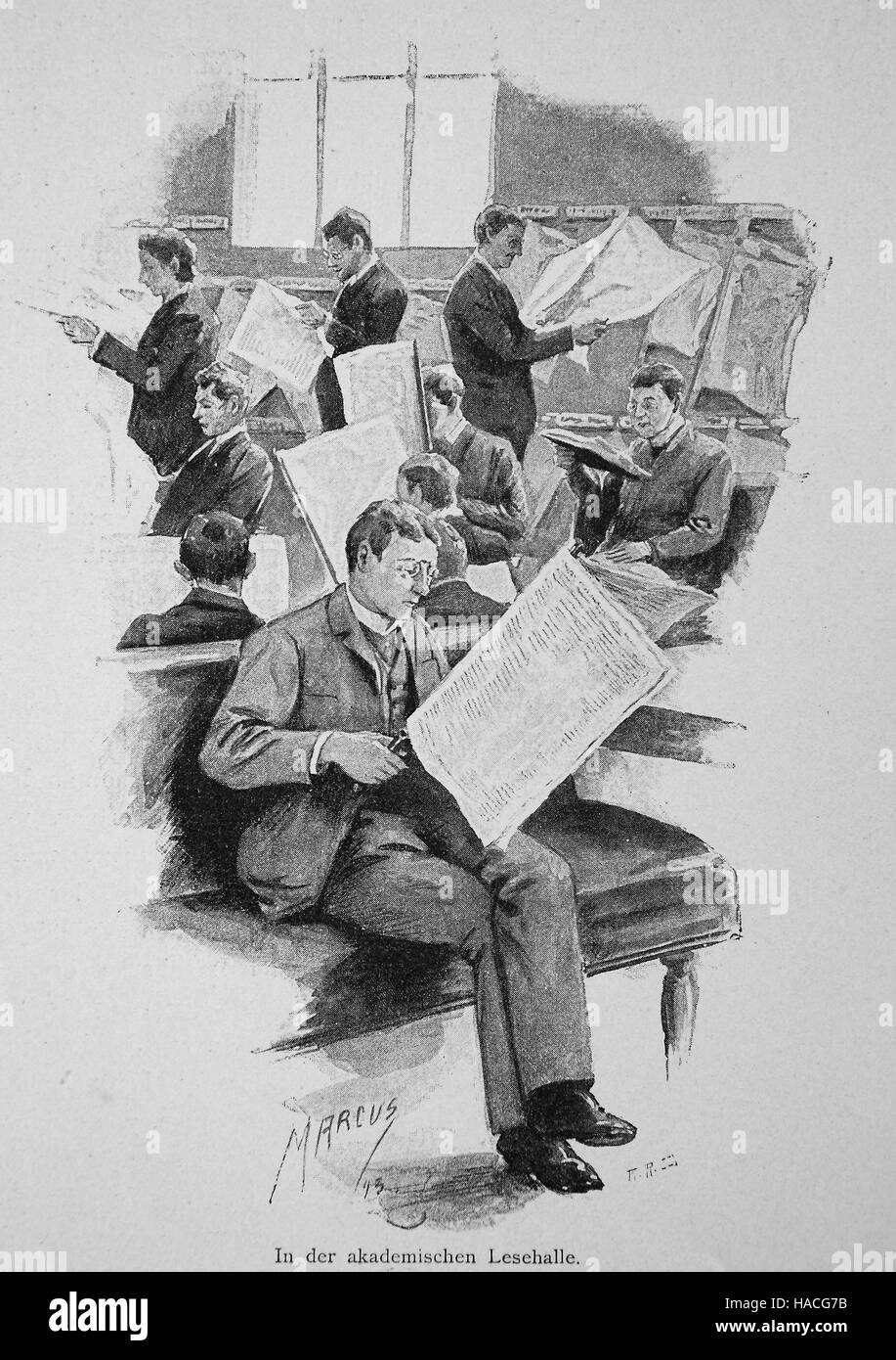 man reading newspaper in an academic reading room, 1880, Germany, historic illustration, woodcut - Stock Image
