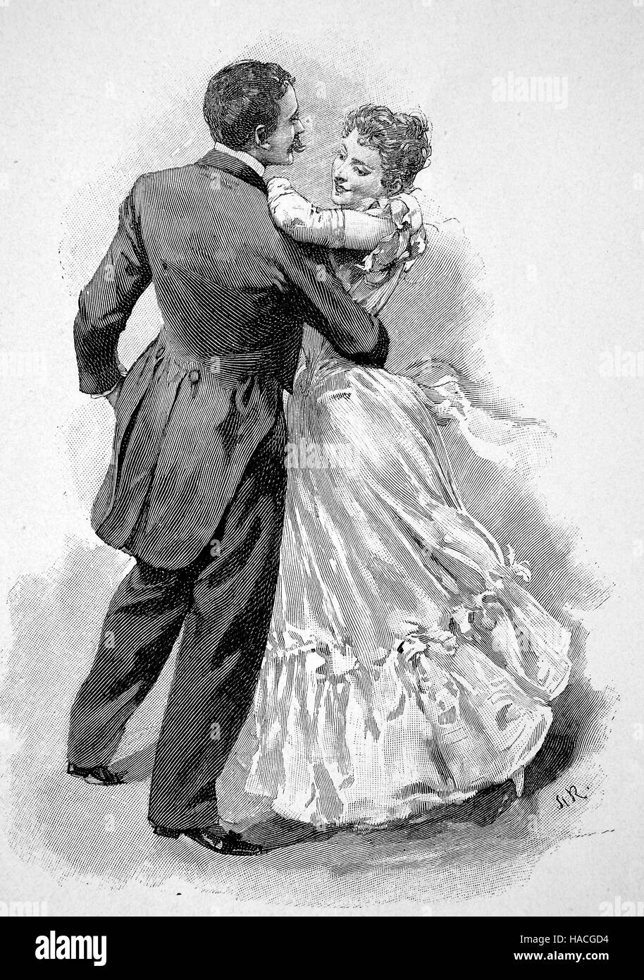 couple dancing the Laendler, a folk dance of Austria, Germany and Switzerland, historic illustration, woodcut - Stock Image
