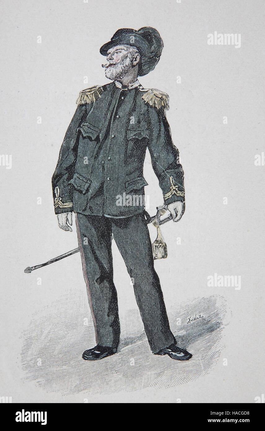 A military veteran at Budapest, Hungary, 1880, historic illustration, woodcut - Stock Image