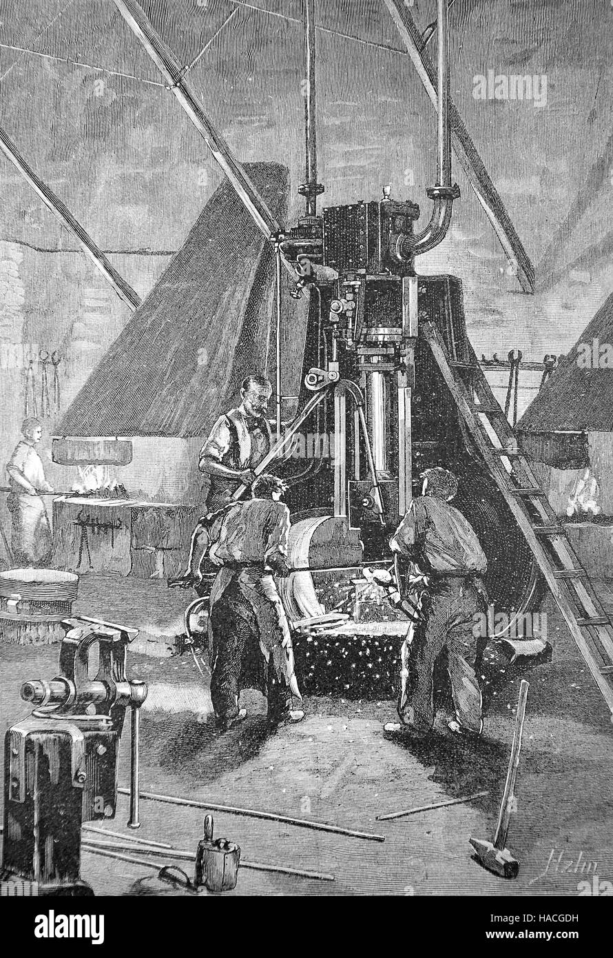 A steam hammer, a power hammer driven by steam, metal working, 1845, historic illustration, woodcut - Stock Image
