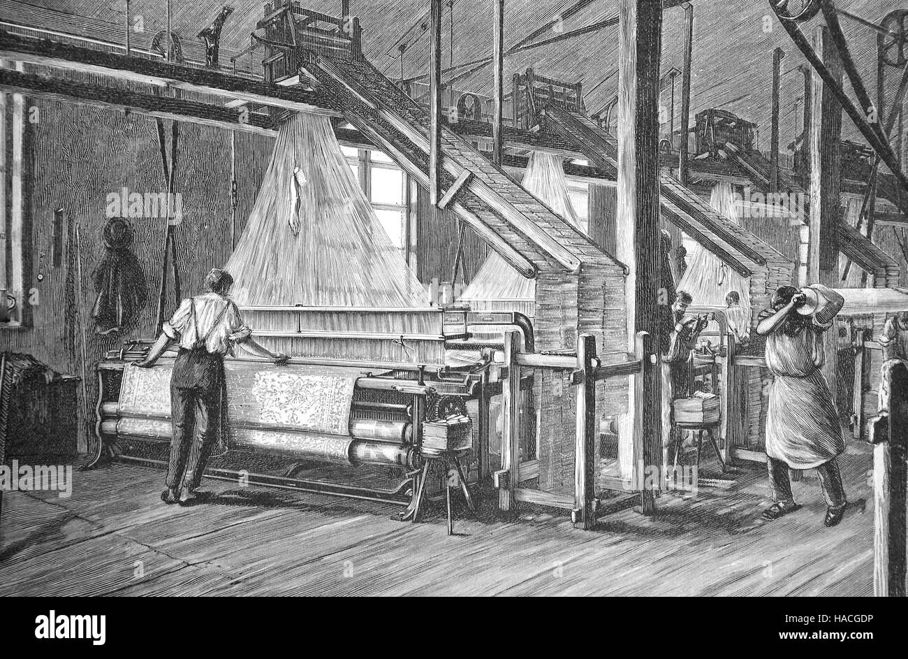 Jacquard loom in a weaving mill, 1880, historic illustration, woodcut - Stock Image