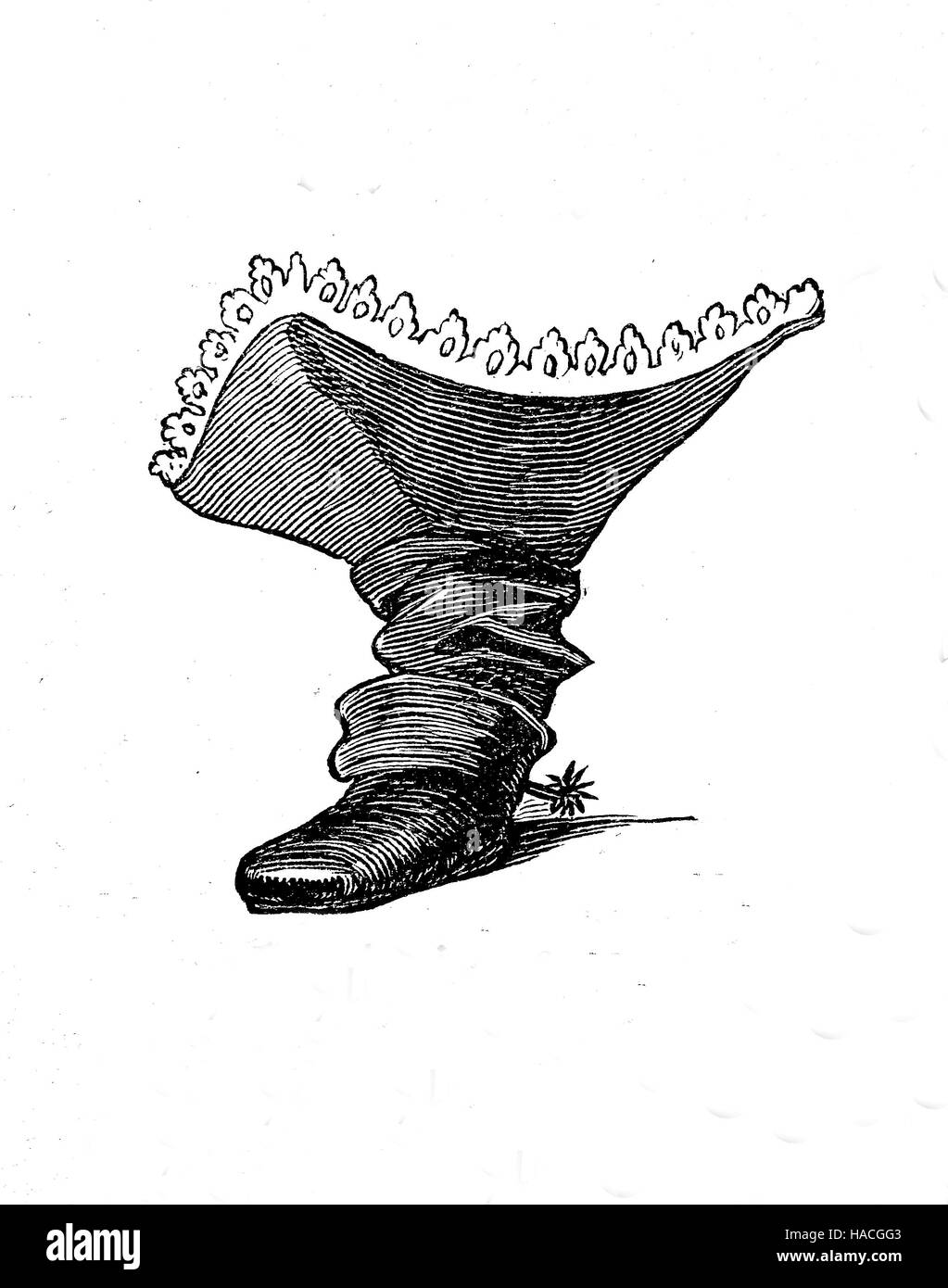 Shoes, fashion of the past. France, 1600 - 1700, boots of a fop or fashion-monger, with lances, historic illustration, - Stock Image