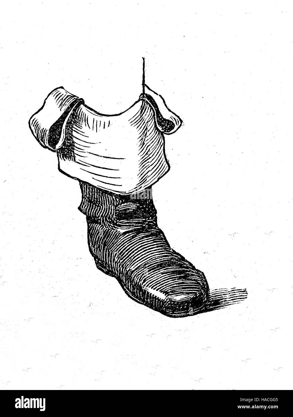 Shoes, fashion of the past. Boots, France, 1793, historic illustration, woodcut - Stock Image