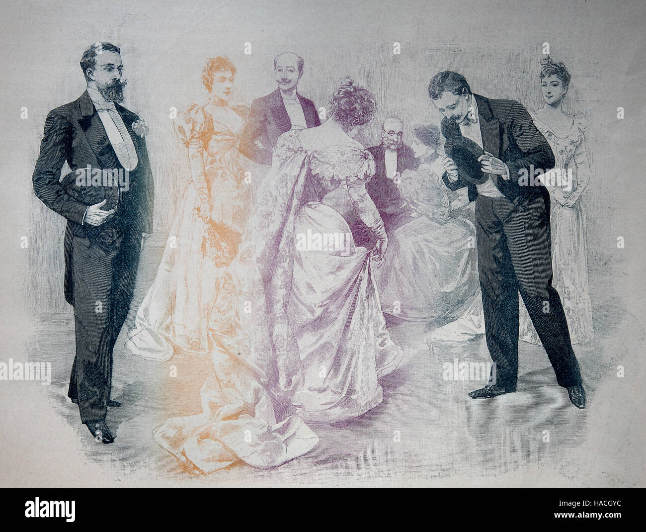 Les Lanciers or The Lancers is a square dance, a variant of the Quadrille, a set dance performed by four couples, - Stock Image