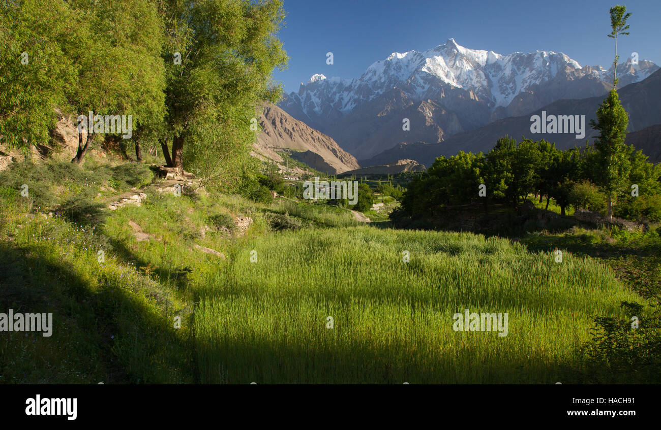 picturesque landscape taken in Hopper valley in Hunza area, northern Pakistan - Stock Image