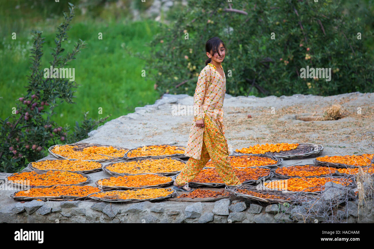 Pakistani girl standing on rooftop drying apricot fruit is smiling happily in Hunza area, northern Pakistan. - Stock Image
