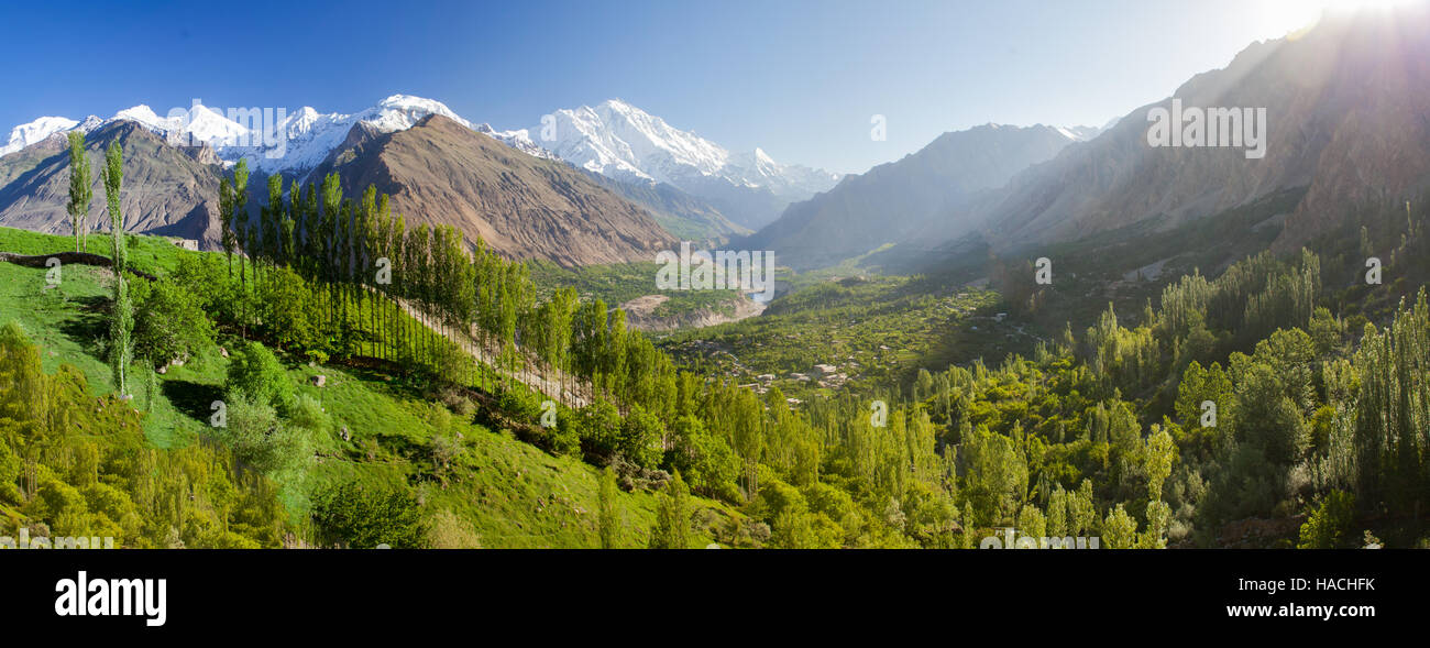 picturesque landscape of Hunza valley, northern Pakistan - Stock Image