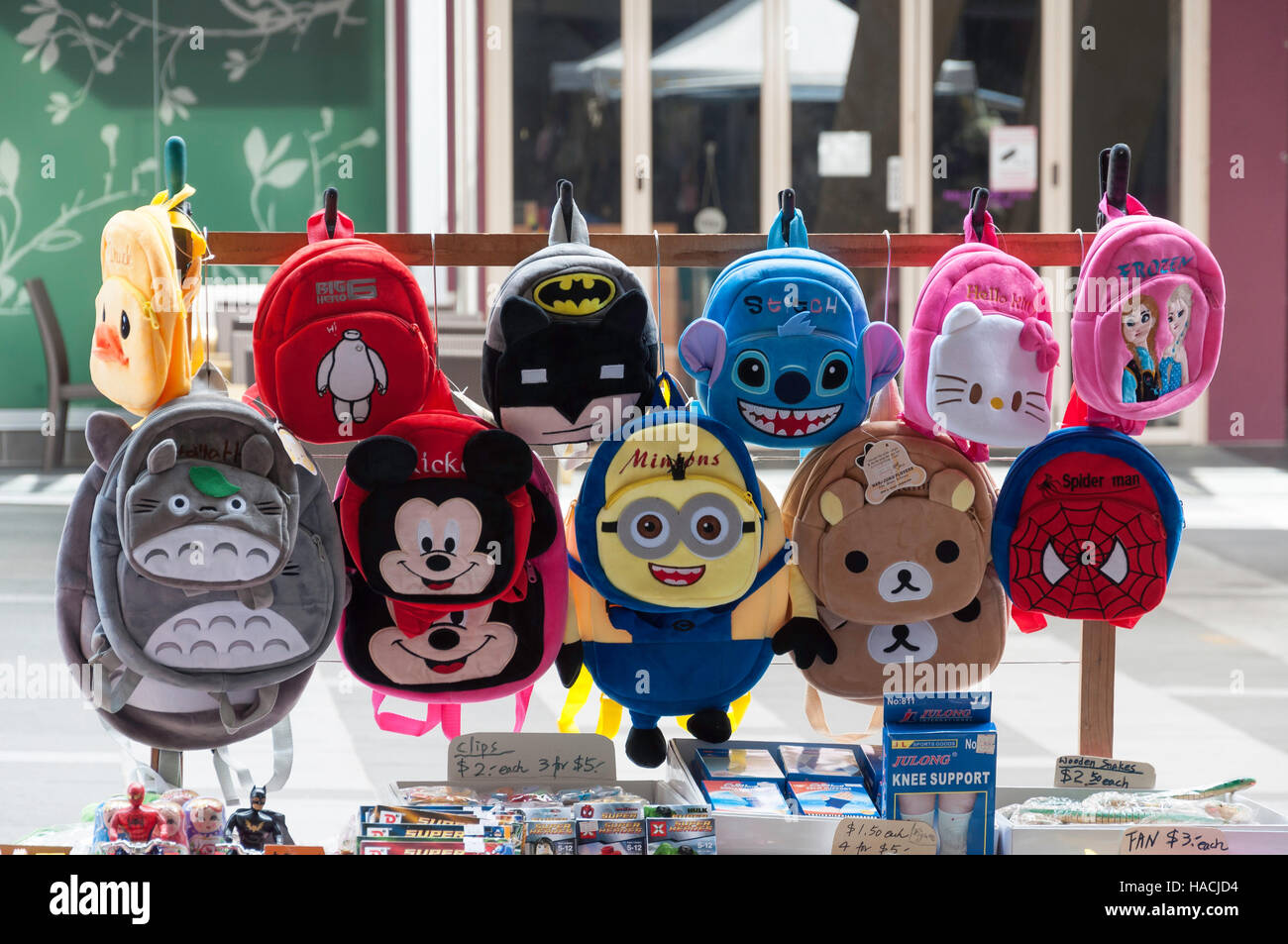 Children's backpacks on market stall, Chinatown Mall, Chinatown, Fortitude Valley, Brisbane, Queensland, Australia - Stock Image