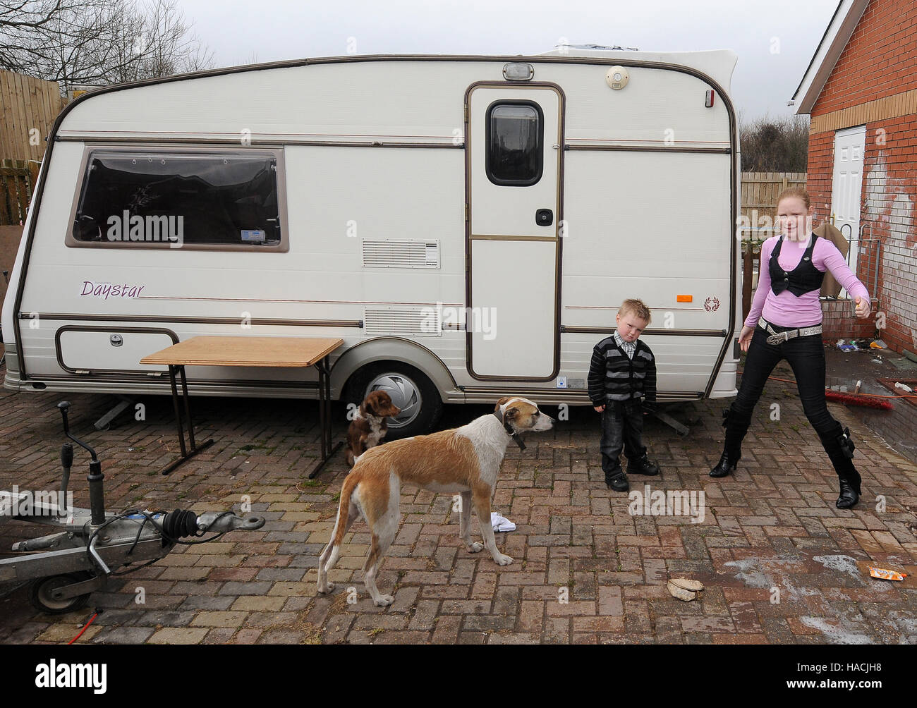 Wentloog Road traveller site in Cardiff, South Wales, UK. - Stock Image