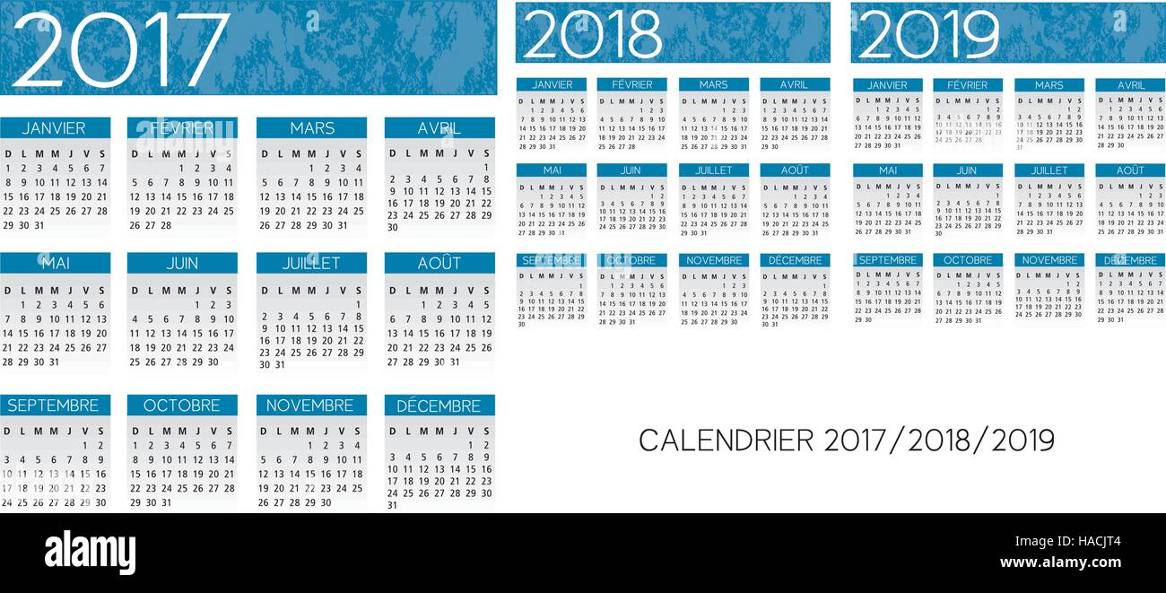 french blue calendar 2017 2018 2019 vector text is outline version 10